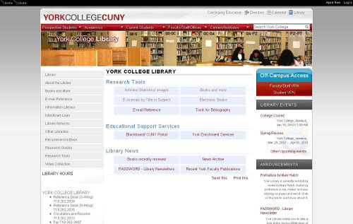 Screen shot of 2010 website